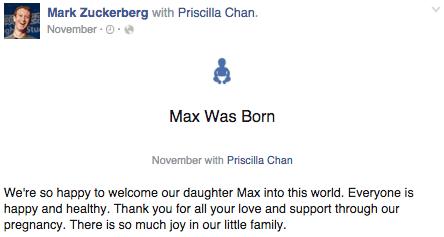 Facebook Life Event - Birth of Max Zuckerberg